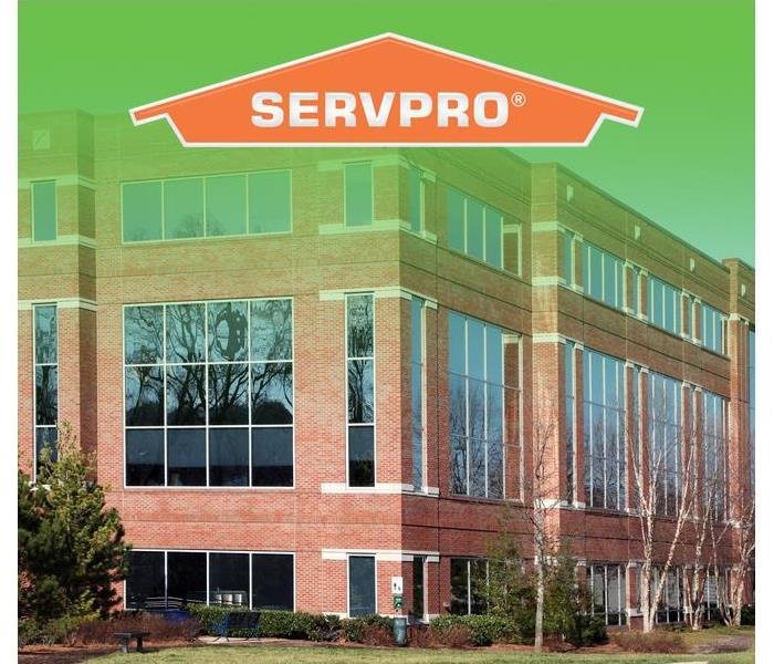 Commercial building with SERVPRO logo on the top